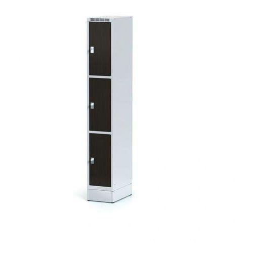 Szafka ubraniowa 3 drzwi 300x300 mm na cokole, drzwi LPW, wenge, zamek obrotowy