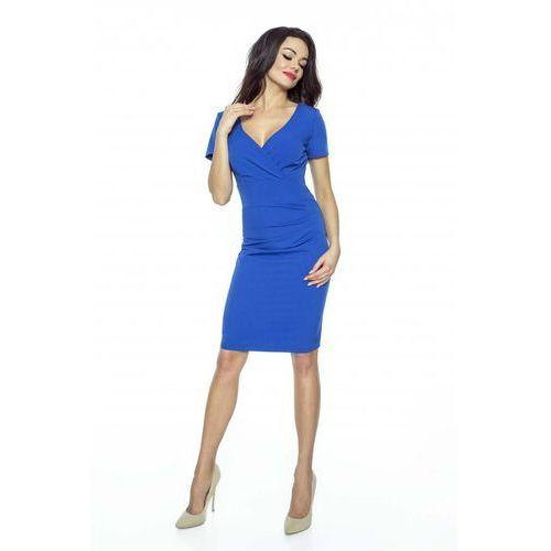 c80602e02980d Kartes moda Chabrowa sukienka dopasowana drapowana z kopertowym dekoltem  189,90 zł Materiał: poliester 80% rayon 15% spandex 5%.przystępne wymiary:  S ...