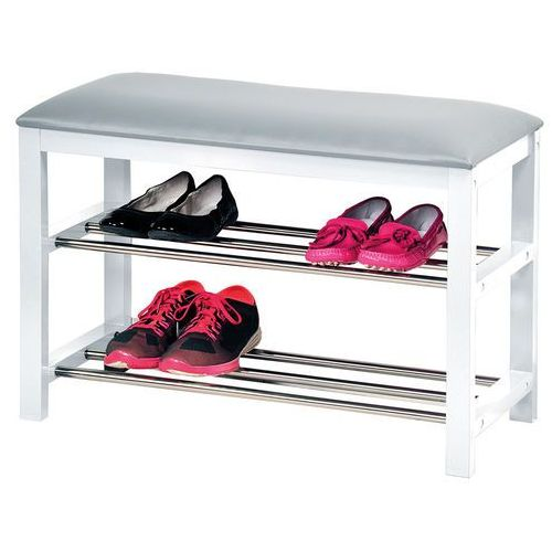 Biała szafka na buty z siedziskiem, siedzisko do przedpokoju, komoda na buty, drewniana szafka na buty, regał na buty, Kesper (4000270894053)