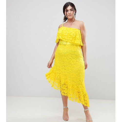 one shoulder asymmetric lace midi skater dress with belt - yellow, Asos curve