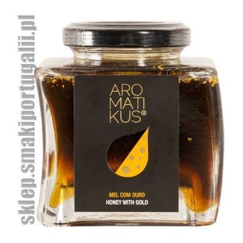 Aromatikus Miód z rozmarynu, kasztanowca i wrzosu z płatkami złota 250g