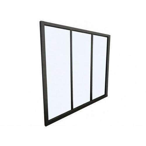 Przeszklona ścianka BAYVIEW z aluminium lakierowanego na czarno - 90x130 cm