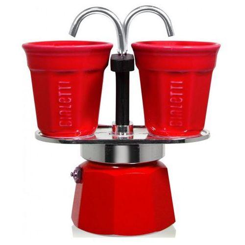 Bialetti - kawiarka mini express 2tz 100 ml + 2 filżanki czerwona