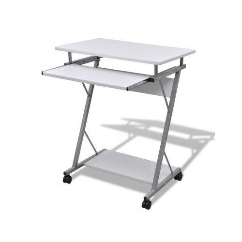 Biurko komputerowe z ruchomą podstawką na klawiaturę (Białe) - sprawdź w VidaXL