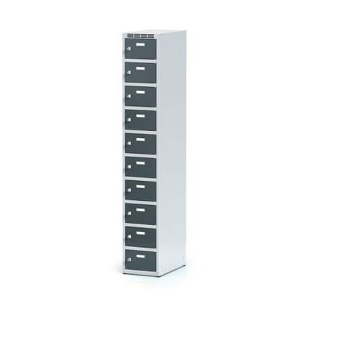 Szafka ubraniowa 10-drzwiowa na cokole, drzwi antracytowe, zamek cylindryczny marki Alfa 3