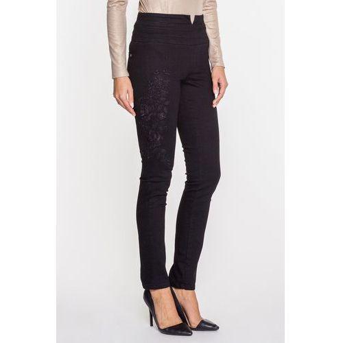 Czarne spodnie z wysokim stanem i haftem na nogawce - RJ Rocks Jeans