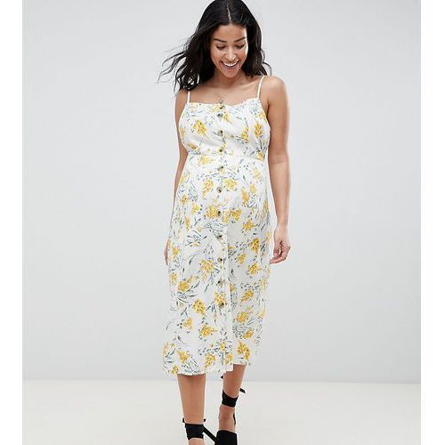 ASOS DESIGN Maternity button through linen midi sundress in floral print - Multi