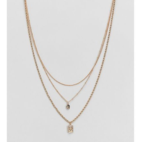 Asos curve Asos design curve multirow necklace with vintage style icon pendants and mixed chains in gold - gold
