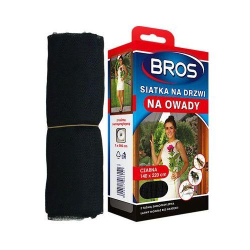 Bros, czarna siatka na drzwi zabezpieczająca pomieszczenia przed owadami, 140x220cm