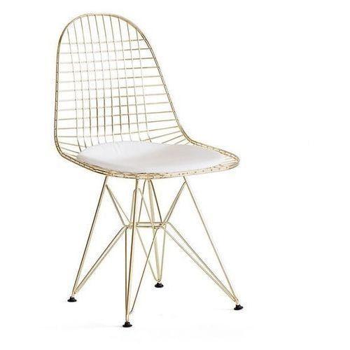 Krzesło metalowe NET GOLD złote - biała poduszka, metal, DC-106.GOLD (10022092)