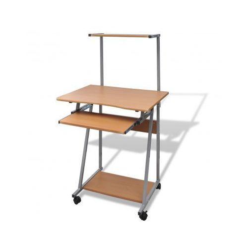 Biurko komputerowe z ruchomą półką na klawiaturę (Brązowe) - sprawdź w VidaXL
