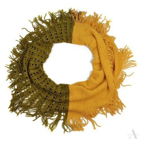 Ażurowy szalik damski komin oliwkowo-żółty - żółty   oliwkowy