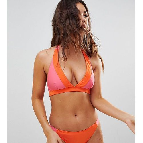 Wolf & whistle fuller bust contrast plunge bikini top dd-g - multi