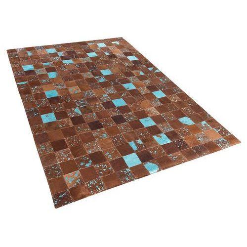 Dywan - brązowo-niebieski - skóra - patchwork - 80x150 cm - aliaga marki Beliani