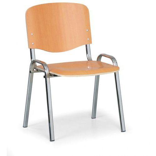 Drewniane krzesło ISO, buk, kolor konstrucji chrom, nośność 150 kg, 3+1 GRATIS