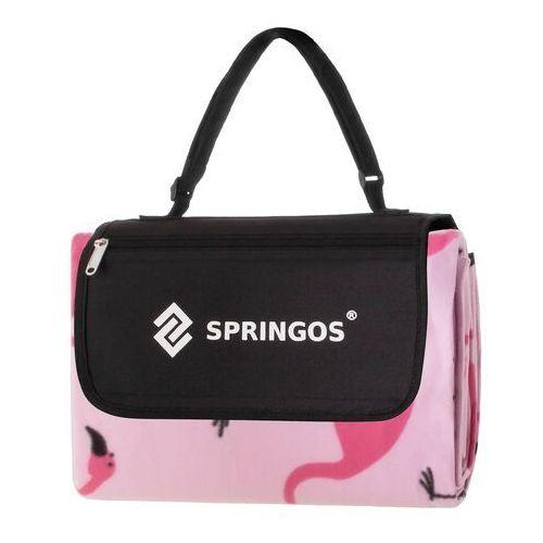 Springos Koc piknikowy plażowy z flamingami 150x180 cm mata