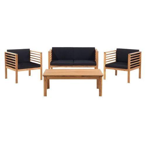 Beliani Meble ogrodowe brązowe - ogród - stół + 2 krzesła + ławka - pacific