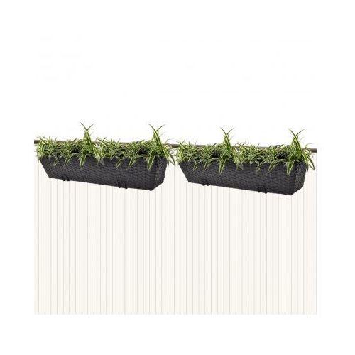 Donice balkonowe prostokątne 2 x 80 cm w kolorze czarnym - oferta [054e297dd721b44a]