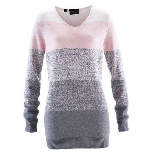 Długi sweter z kaszmirem pastelowy jasnoróżowy - szary melanż, Bonprix, 40-58
