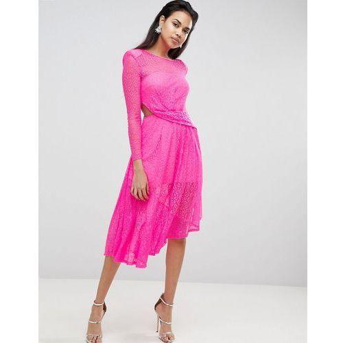 ASOS Neon Lace Asymmetric Hem Midi Dress - Pink, kolor różowy