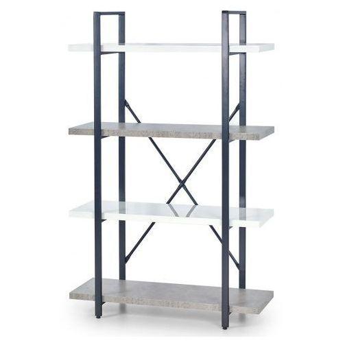 Industrialny regał Tones 4X - biały połysk + beton