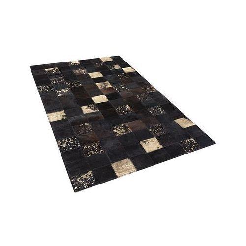 Dywan - brązowy - skóra - patchwork - 80x150 cm - BANDIRMA