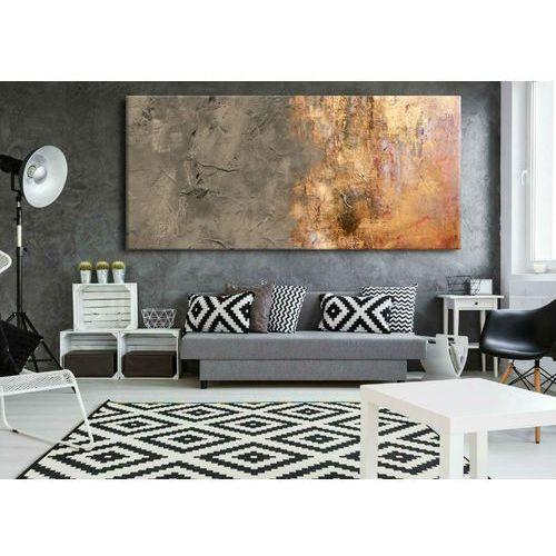 Duże obrazy nowoczesne - ręcznie malowane - popielaty beż z metalicznym wykończeniem