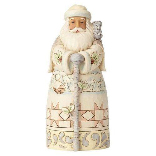 Biały Mikołaj - zimowa przygoda czeka -Winter Adventure Awaits (White Woodland Santa with Cane) 6001415 Jim Shore figurka ozdoba świąteczna
