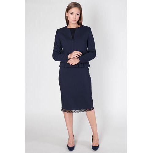 Granatowy żakiet z ozdobną baskinką - Click Fashion, kolor niebieski