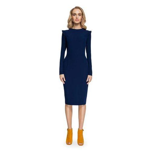 89a0a2b21f5c17 Granatowa Ołówkowa Sukienka Midi z Mini Stójką, kolor niebieski 145,90 zł  Material: poliester 65% wiskoza 30% elastan 5%.Dostepne wymiary: S (36), M  (38), ...