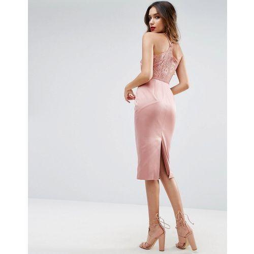 Asos lace insert cami midi pencil dress - pink