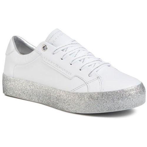 Tommy hilfiger Sneakersy - glitter foxing dress sneaker fw0fw04849 white/silver 0k5
