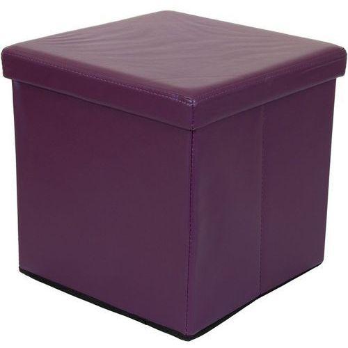 Fioletowa składana pufa cube siedzisko kufer fotel - fioletowy marki Stilista ®