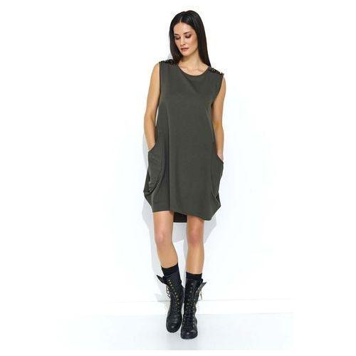 Khaki Dresowa Sukienka Bombka z Cekinami, kolor zielony