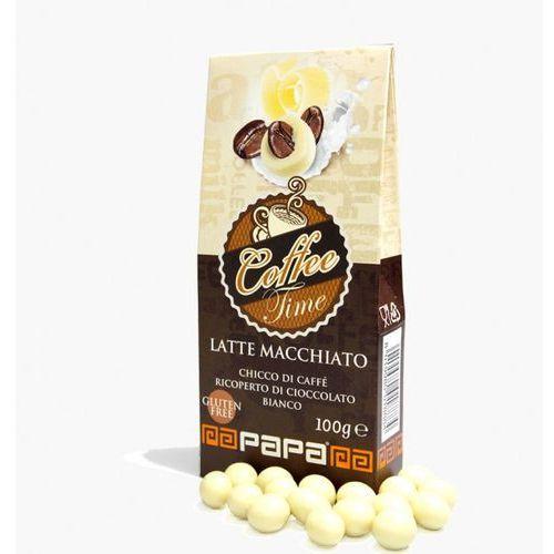 Papa coffe time ziarno prażonej kawy w białej czekoladzie o smaku latte macchiato 100g