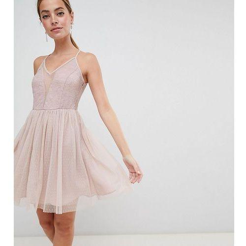 ASOS DESIGN Petite Sleeveless Dobby Lace Mix Mini Dress - Pink