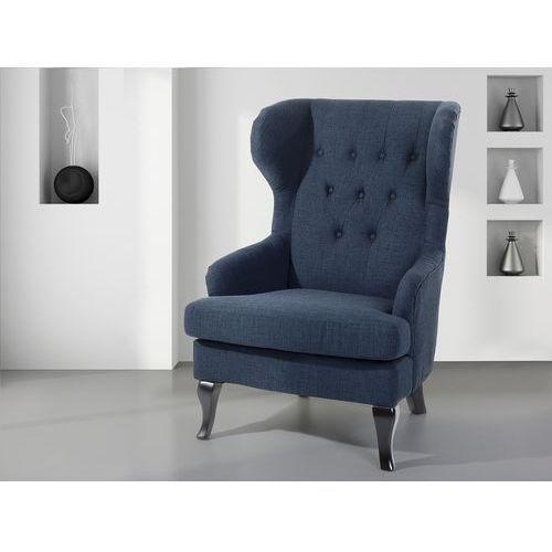 Fotel ciemnoniebieski - tapicerowany - pikowany - do salonu - ALTA (7081459399917)