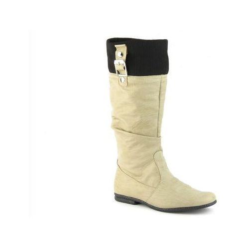Kozaki damskie Veronii 2227 - beż, kolor beżowy