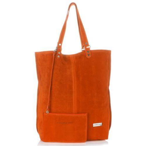 dcde2865f5b41 Uniwersalne Torebki Skórzane Firmowy Włoski Shopperbag Vittoria Gotti w  rozmiarze XXL Zamsz Naturalny wysokiej jakości Pomarańczowy (kolory)