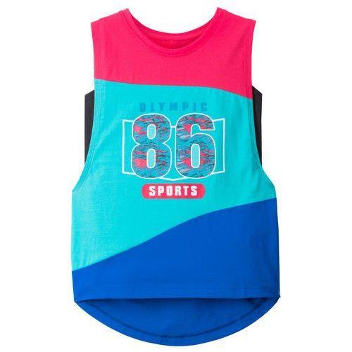 Bonprix Top sportowy (2 części) różowo-niebieski