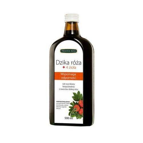 Premium rosa 500ml sok 100% dzika róża + 4 zioła tłoczony na zimno