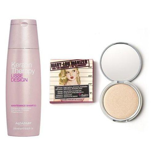 keratin therapy maintenance and mary-lou manizer | zestaw do włosów i makijażu: szampon podtrzymujący efekt wygładzenia 250ml + puder rozświetlający 9,06g marki Alfaparf