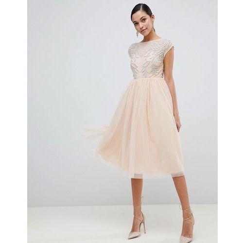 design embellished open back tulle midi dress - beige, Asos