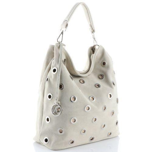 afc31cb707a8f Vittoria gotti oryginalna włoska torebka skórzana typu shopperbag xl  wykonana z wysokiej jakości zamszu naturalnego beżowa (kolory) 300