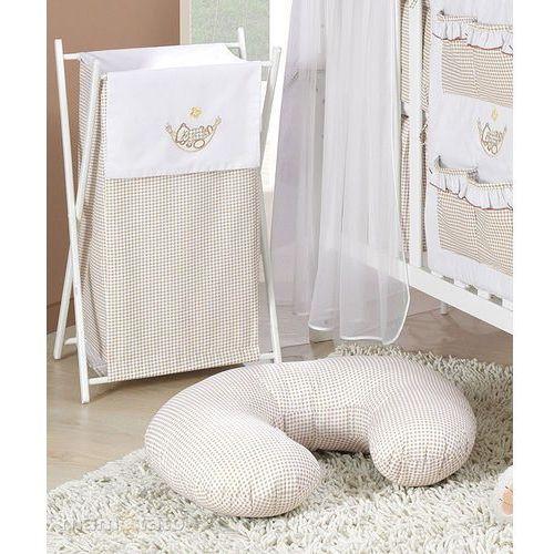 kosz na bieliznę śpioch w hamaku brąz z białym marki Mamo-tato