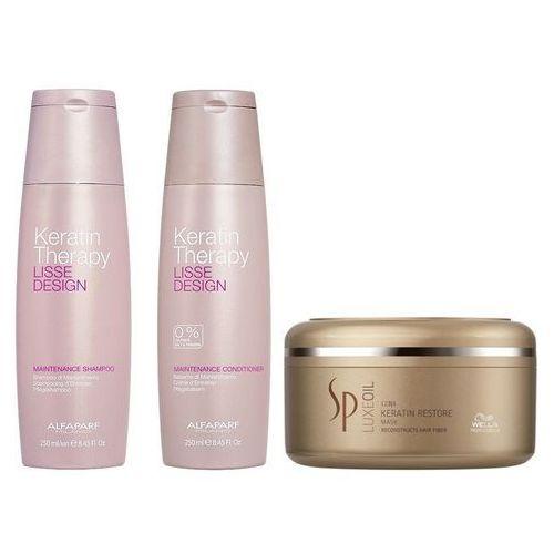 keratin therapy maintenance and sp luxe oil keratin restore | zestaw do wygładzenia i regeneracji włosów: szampon + odżywka 250ml + maska 150ml marki Alfaparf