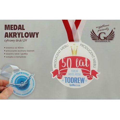 Medal z akrylu szronionego - druk uv - mak001 - średnica 40 do 80mm marki Grawernia.pl - grawerowanie i wycinanie laserem