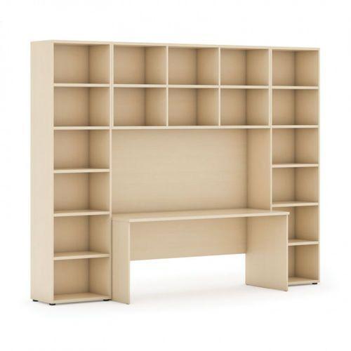 Biblioteka z wbudowanym biurkiem, wysoka, 2950x700/400x2300 mm, brzoza