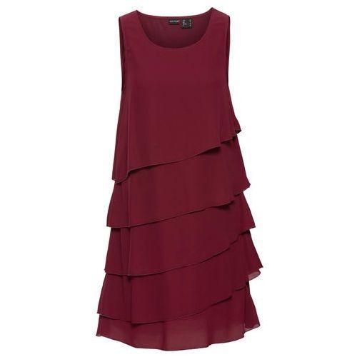 Bonprix Sukienka z falbanami czerwony klonowy