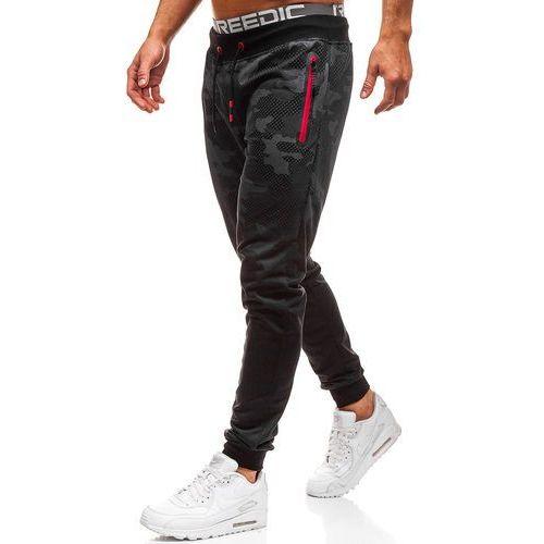 Spodnie męskie dresowe joggery moro-czarne Denley KK512, kolor czarny